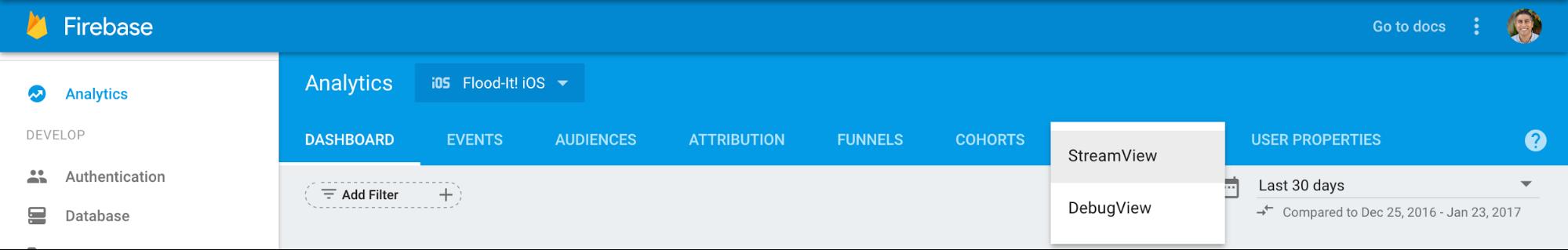 Selecciona la flecha que aparece junto a StreamView en la parte superior de Google Analytics para Firebase y selecciona DebugView para ir a DebugView