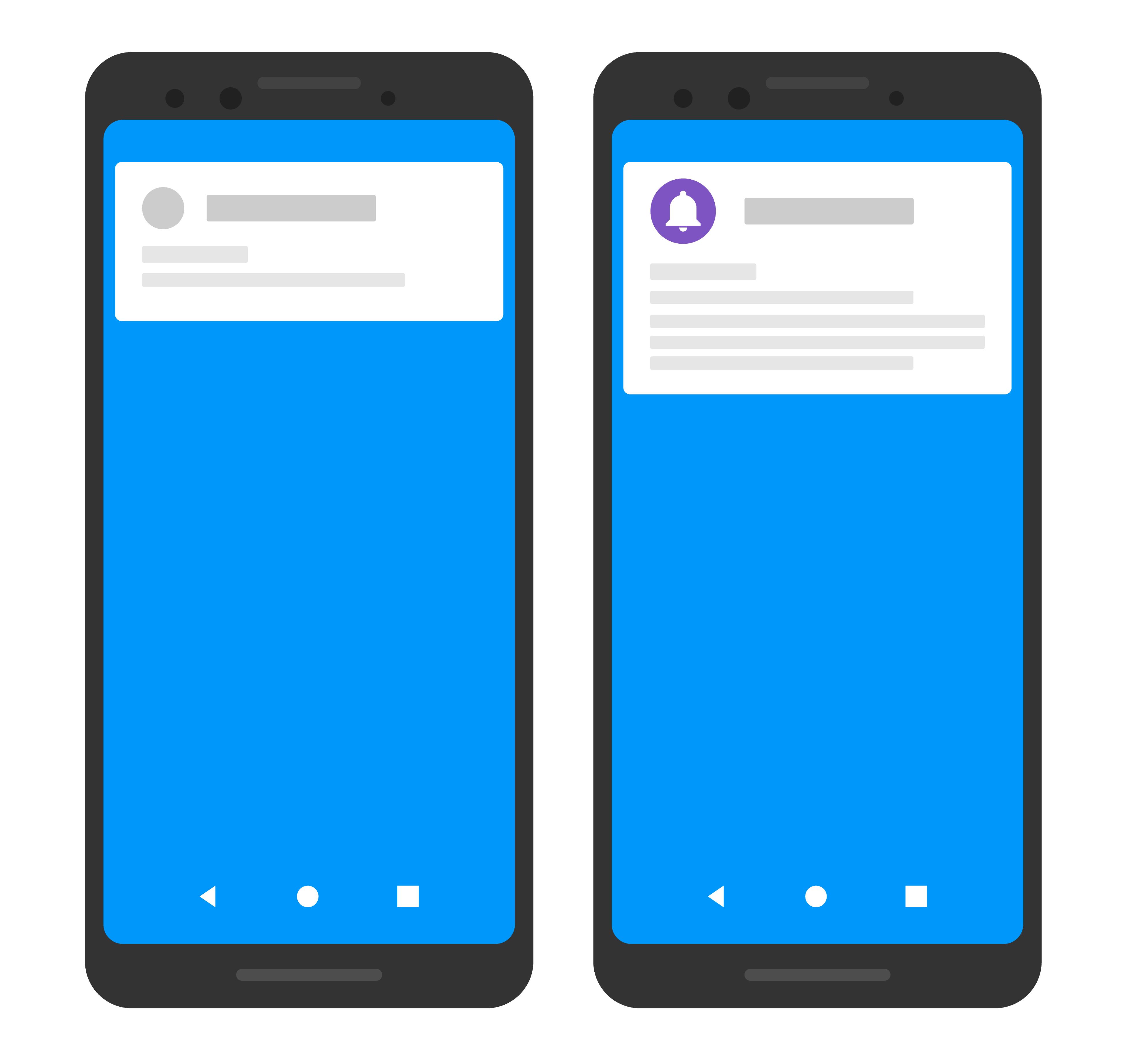 Gambar sederhana dua perangkat, yang satu menampilkan ikon dan warna khusus