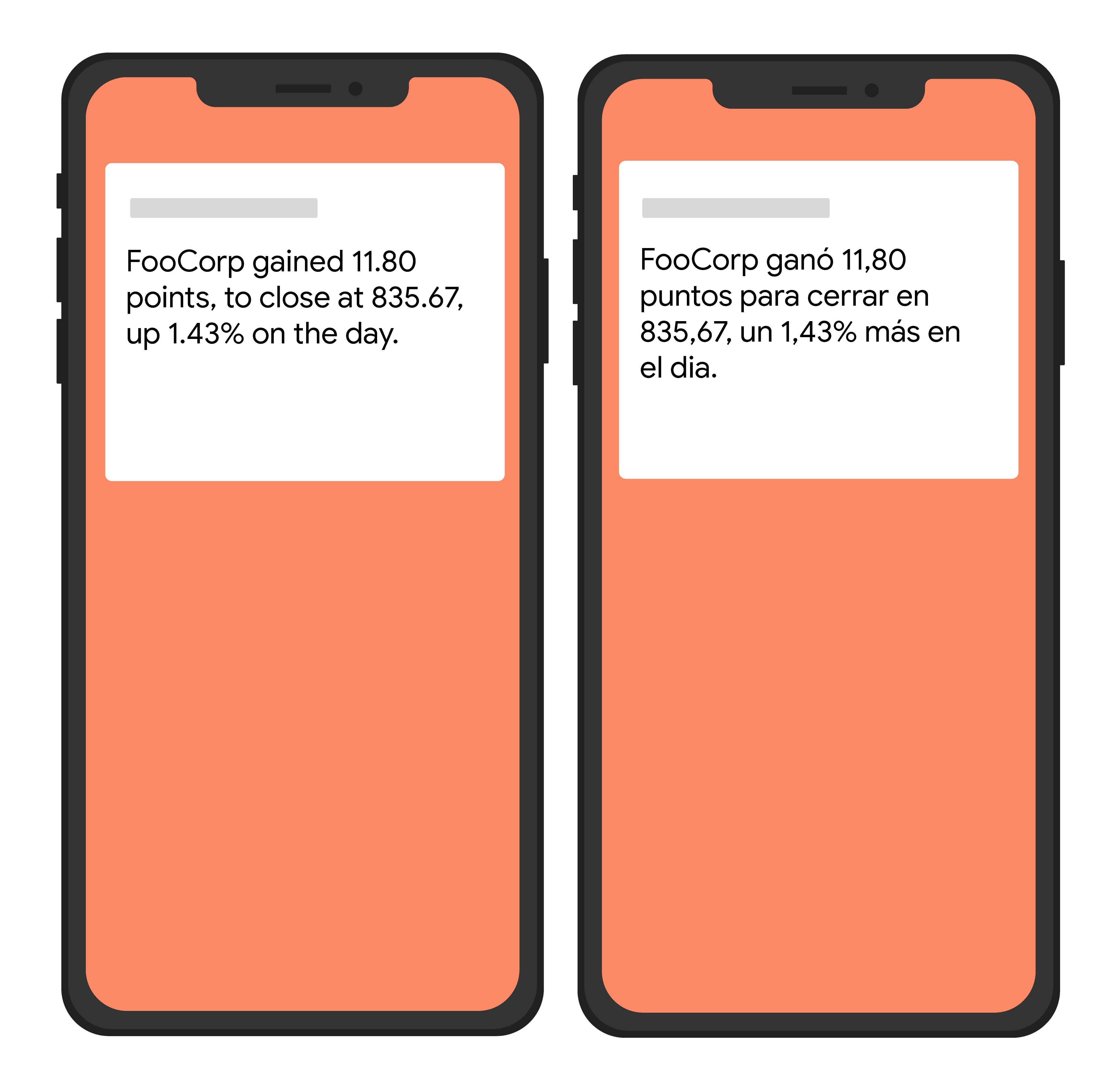 Gambar sederhana dua perangkat yang menampilkan teks dalam bahasa Inggris dan Spanyol