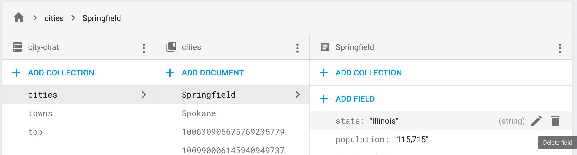 Haz clic en el ícono de borrar para quitar un campo de un documento