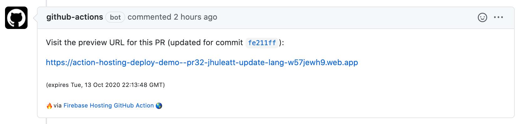 帶有預覽URL的GitHub Action PR評論圖像