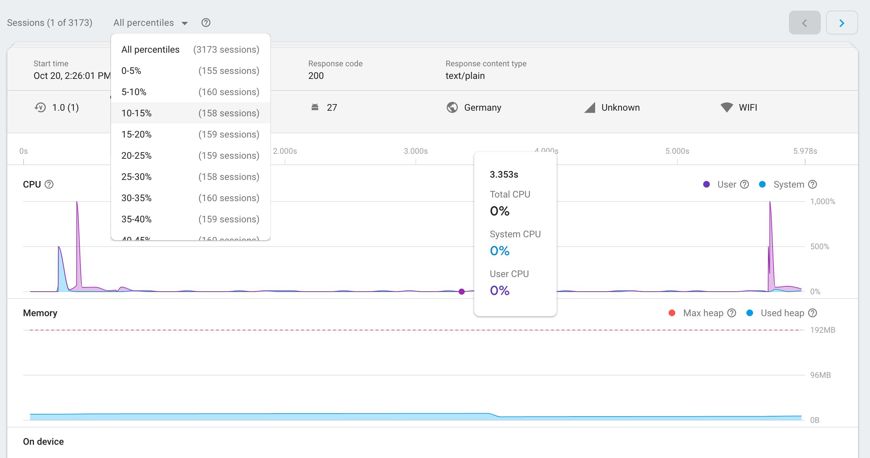 une image de la page des sessions Firebase Performance Monitoring