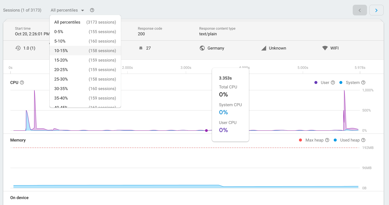 Firebase Performance Monitoring のセッション ページのイメージ