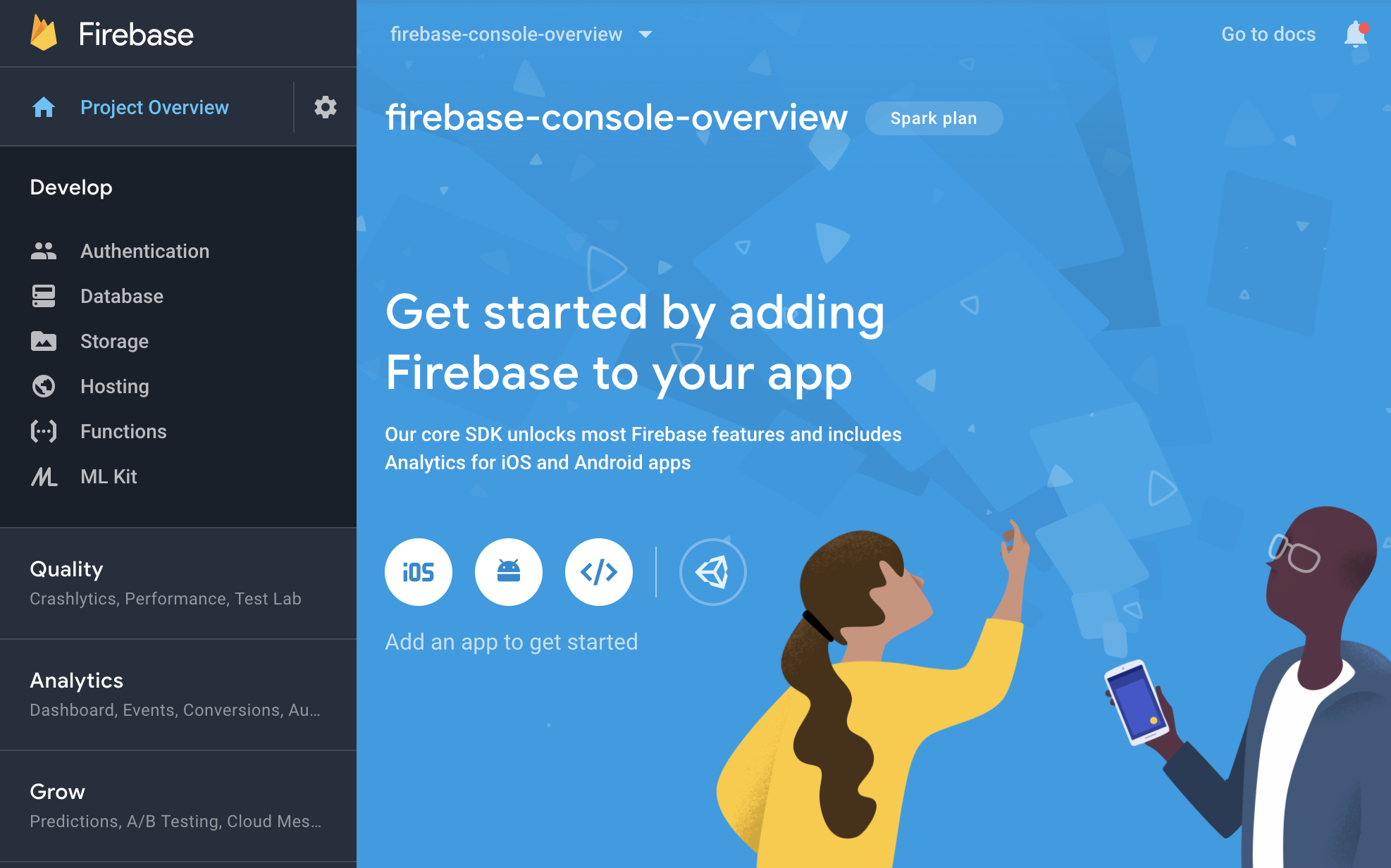 Firebase console - layar ringkasan project