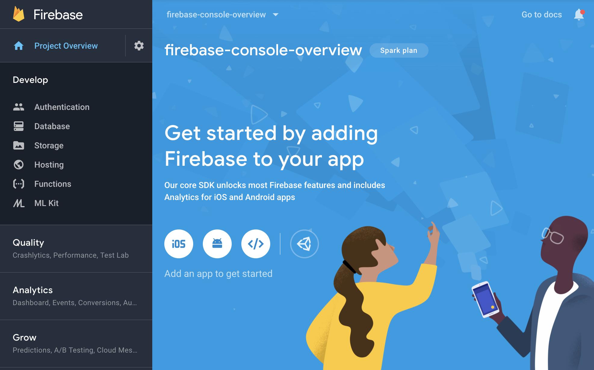Firebase कंसोल - प्रोजेक्ट ओवरव्यू स्क्रीन