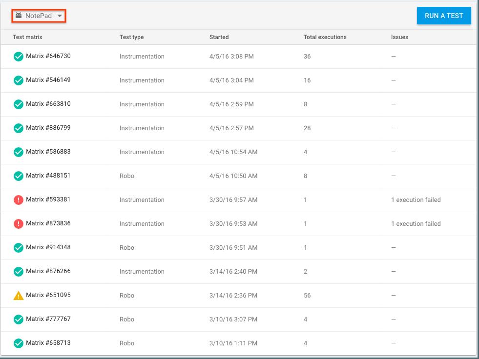 Lista de matrices de pruebas