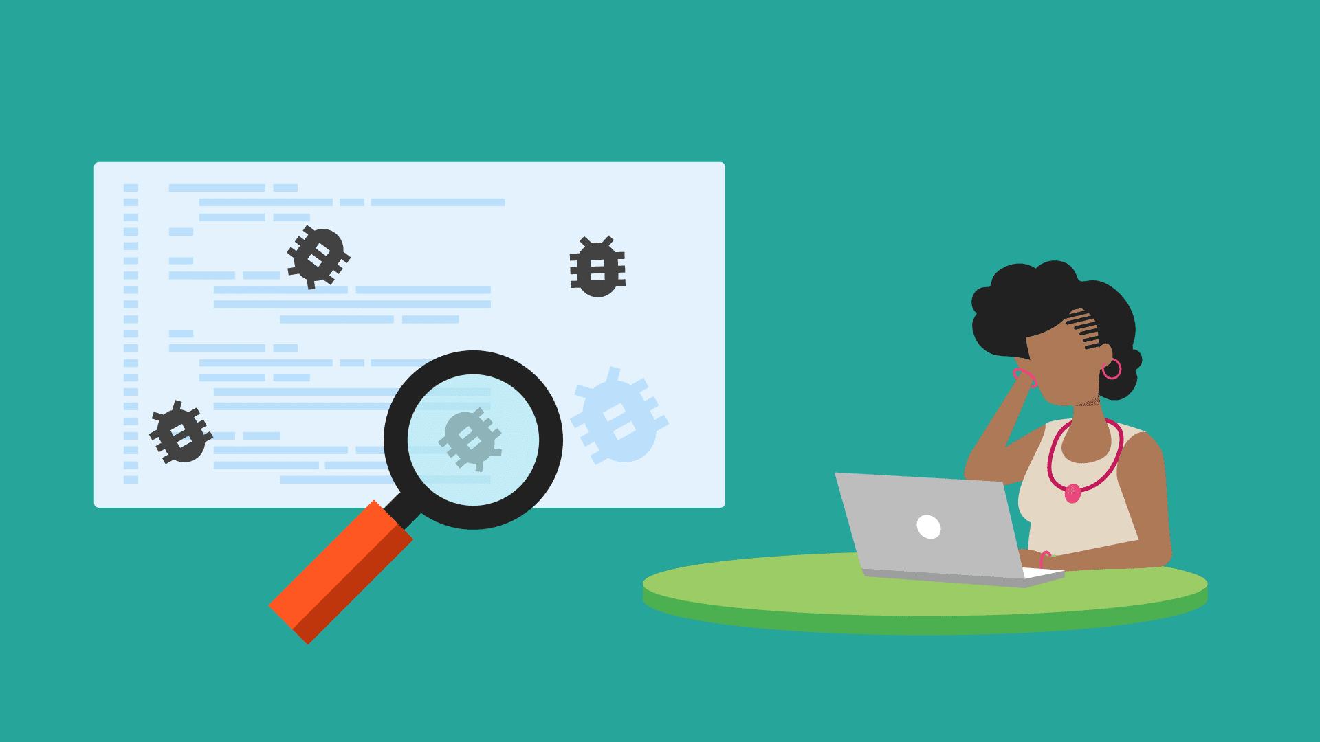 Illustrazione dello sviluppatore alla ricerca di bug
