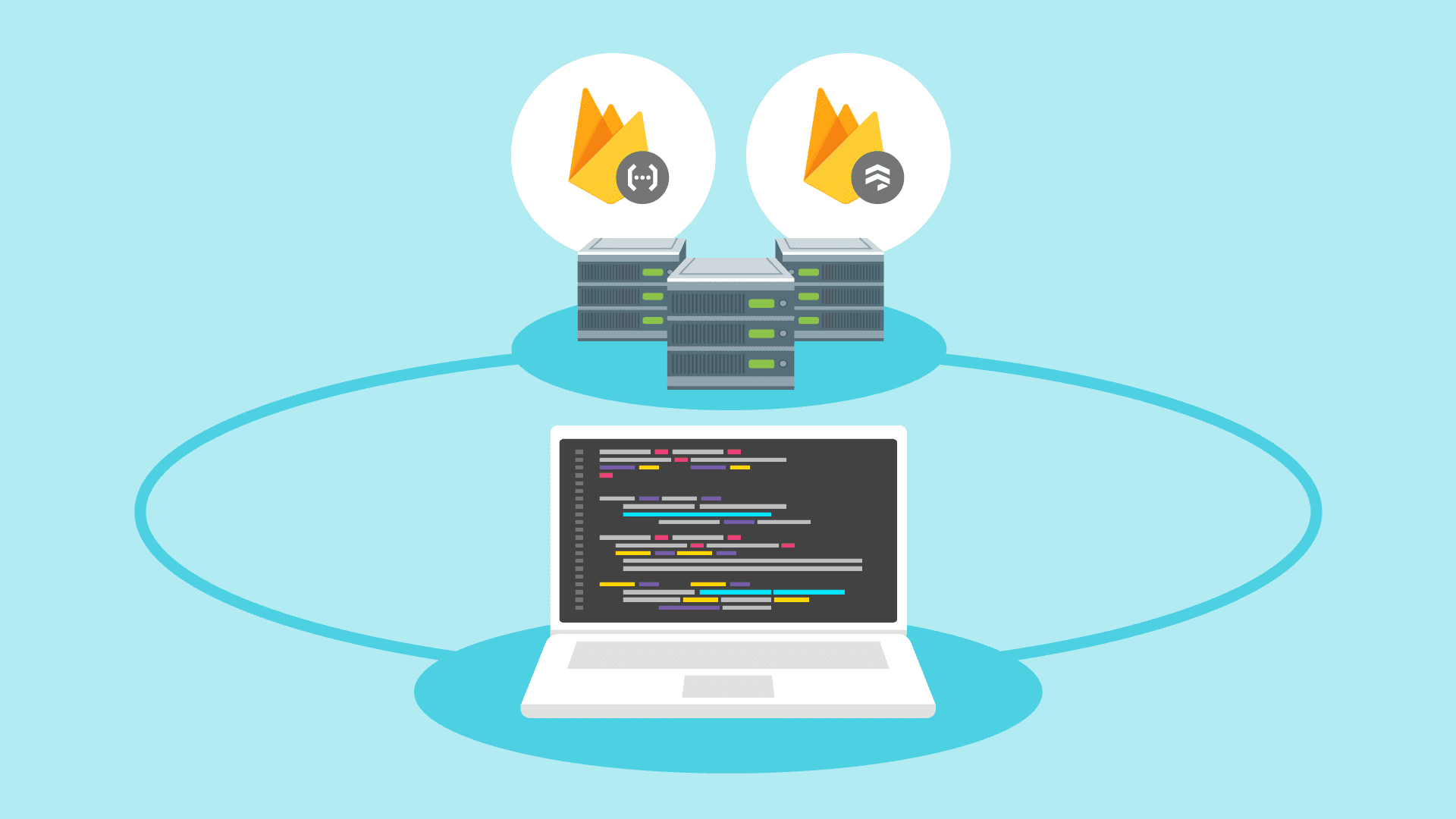 Illustration des Laptops mit Servern dahinter