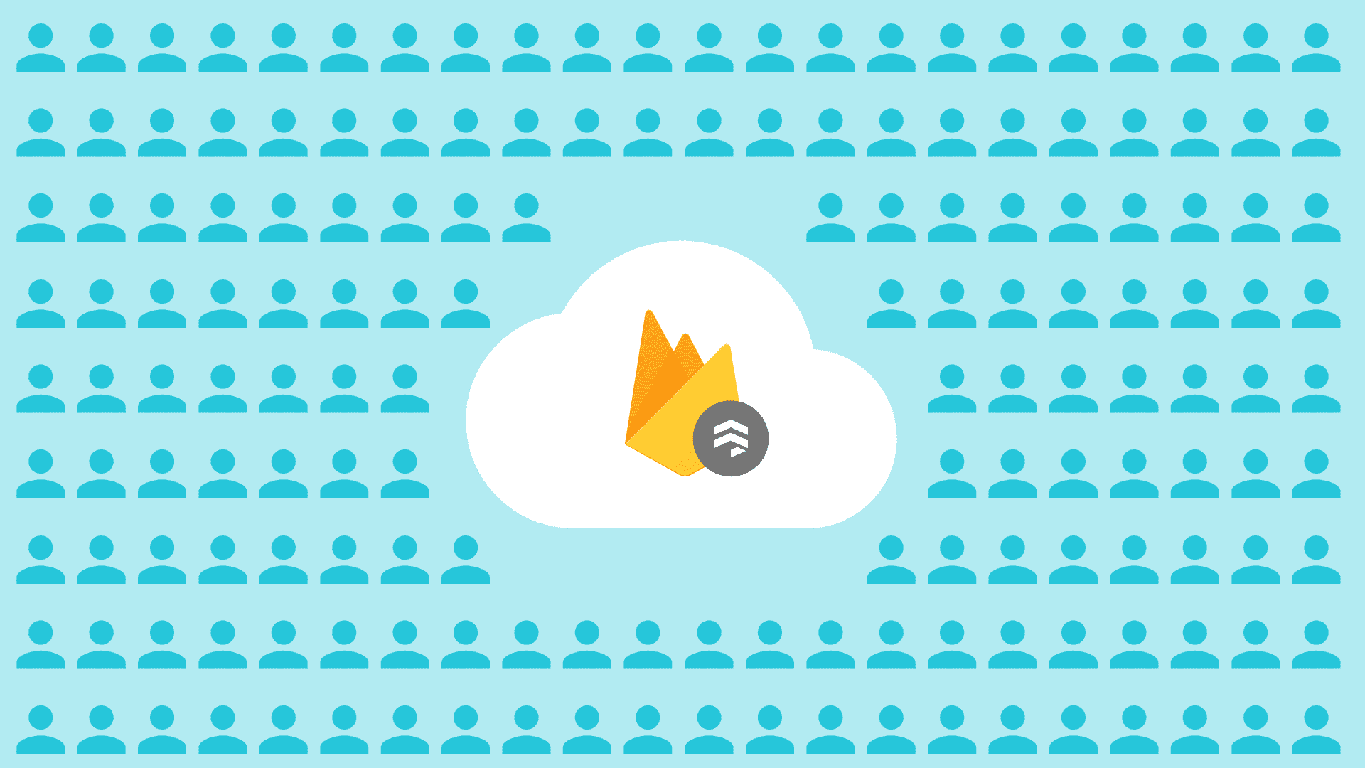 Illustration of firebase firestore logo and audience members
