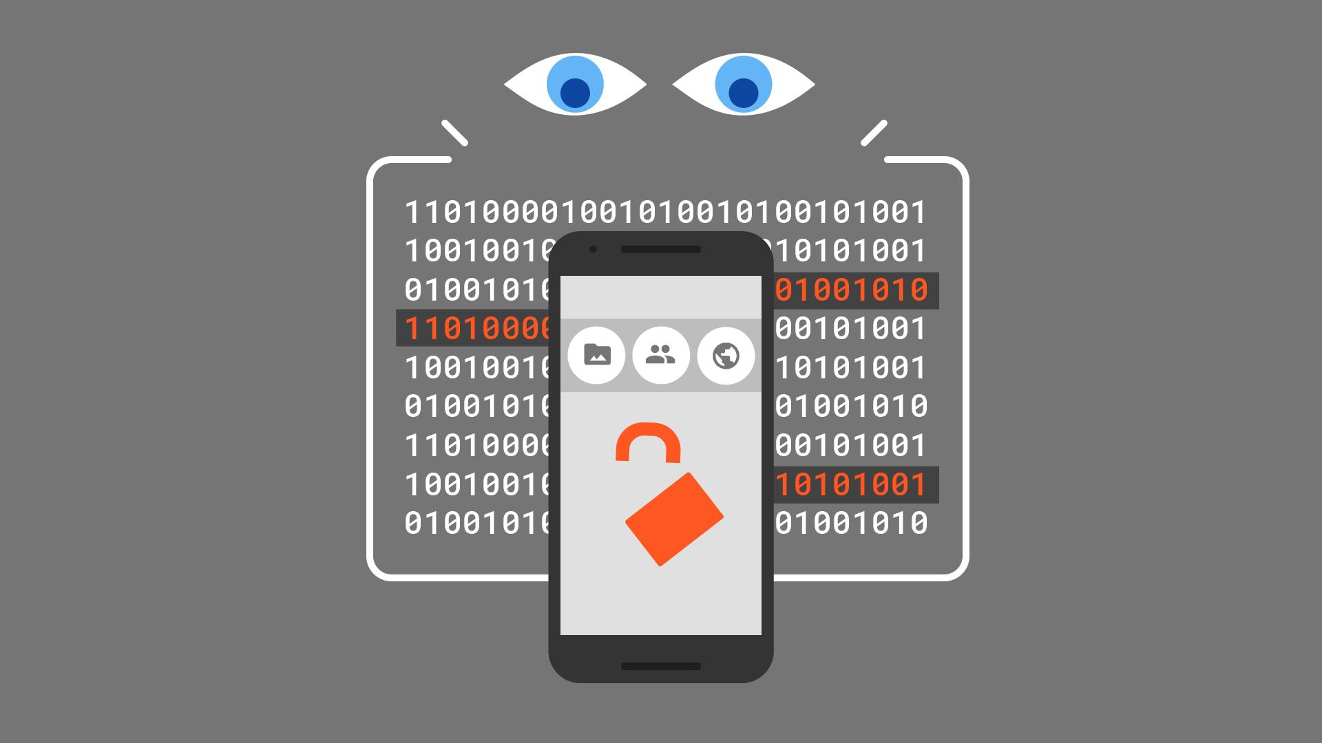 मोबाइल सुरक्षा का चित्रण