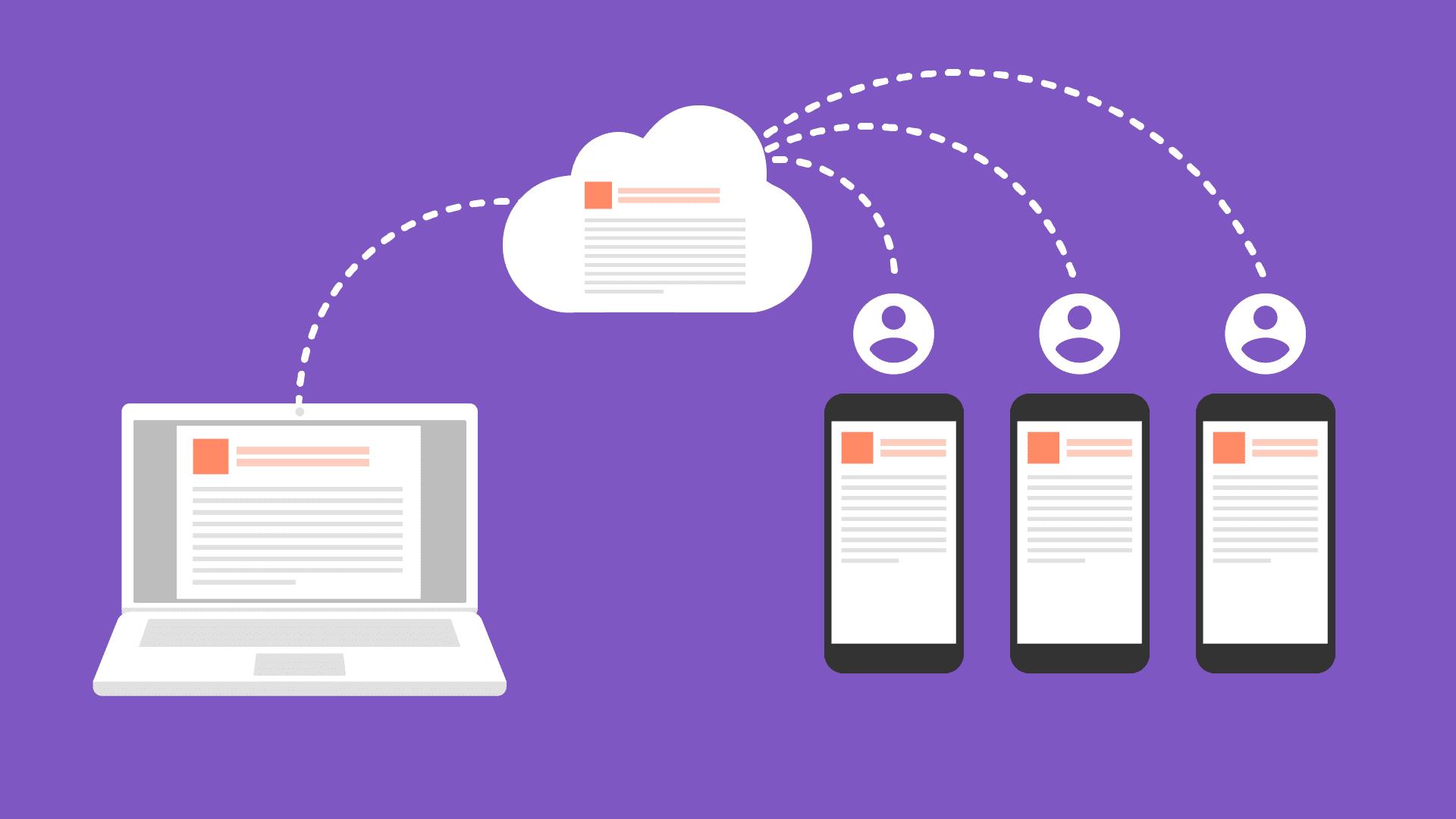Ilustracja synchronizacji danych w chmurze z klientami