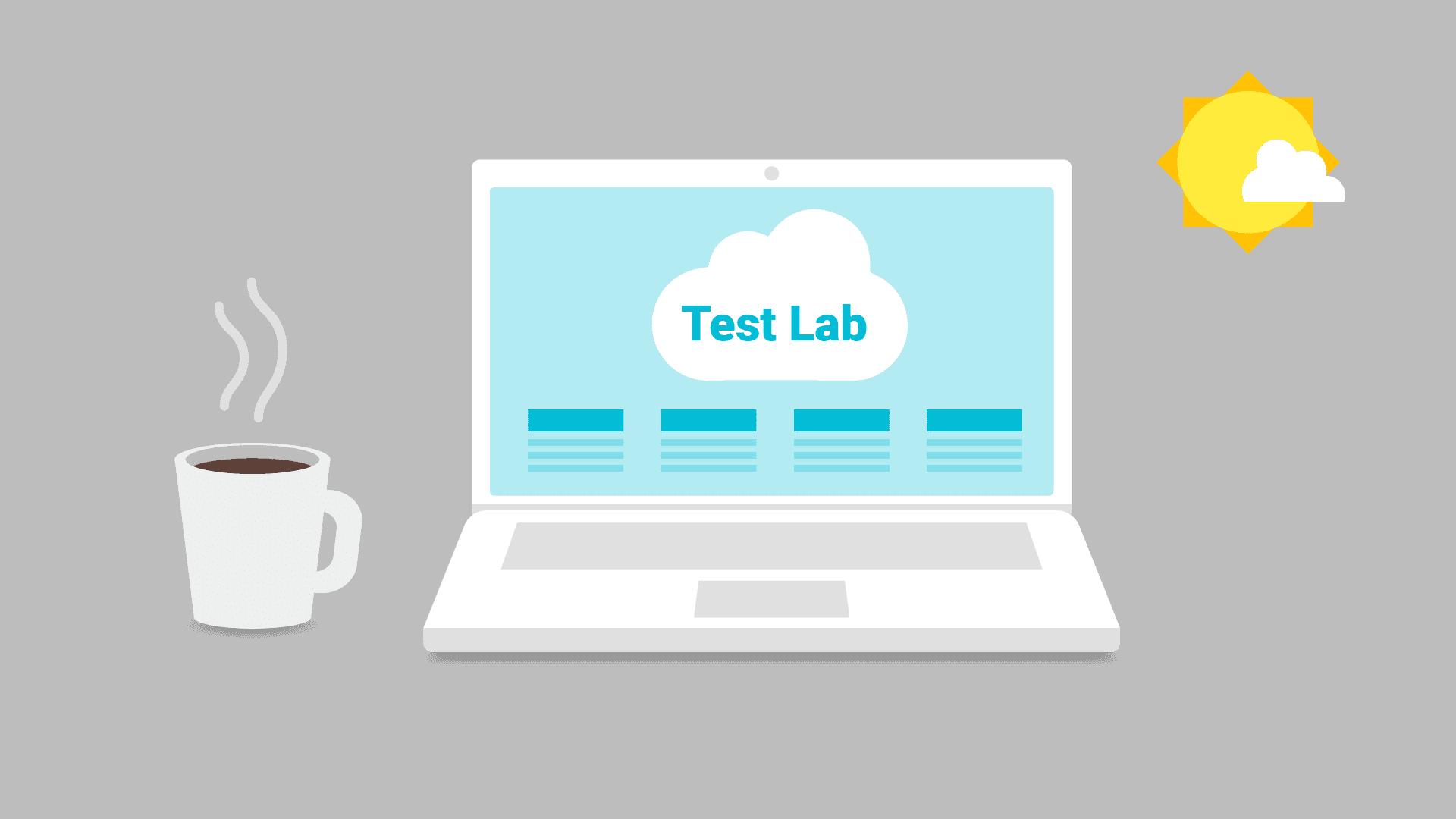 屏幕上显示 Test Lab 的笔记本电脑